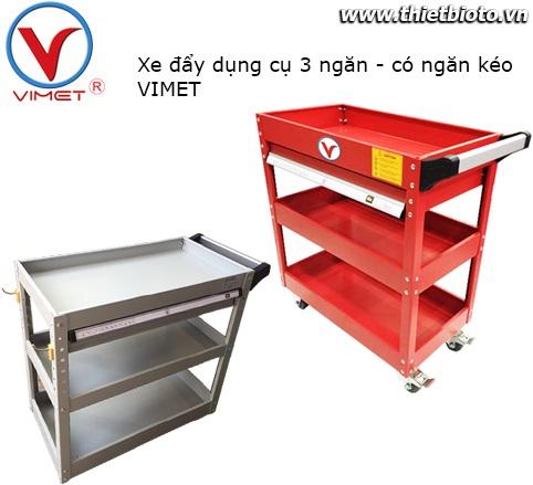 Xe đẩy dụng cụ 3 ngăn có ngăn kéo VIMET XDC31830
